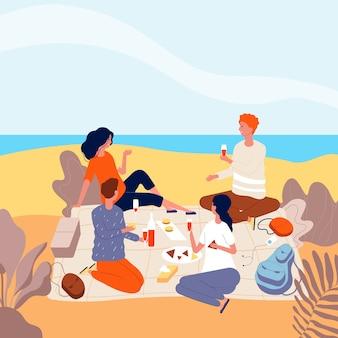 Picknick am meer. familie entspannen am sommerstrand im freien menschen getränkedinner lustige erwachsene picknick flache charaktere