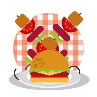 Picknick burger und kebab mit wurst und tomate