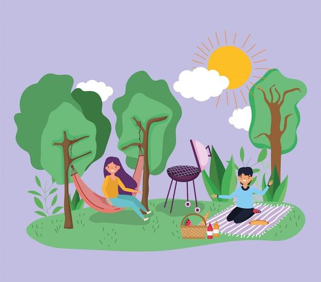 Picknick der jungen leute im park