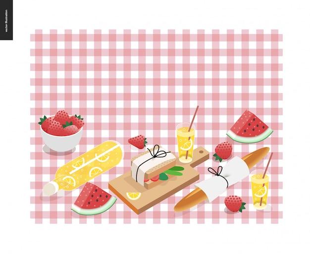 Picknick karo und snack vorlage