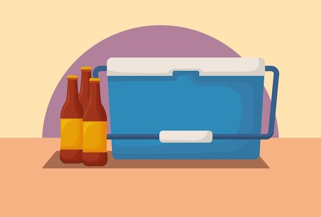 Picknick-kühler und bierflaschen