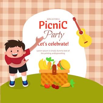 Picknick mit familie oder freunden konzept.