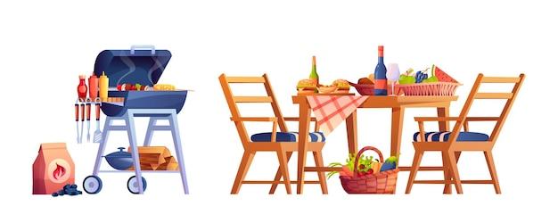Picknick mit tischgrill-essen und getränkekorb
