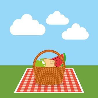 Picknick-party-szene-symbol