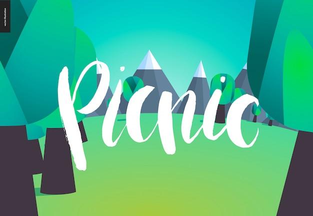 Picknick-schriftzug auf naturlandschaft
