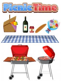 Picknick-set mit grill und essen auf weißem hintergrund