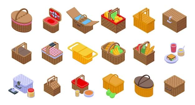 Picknickkorb-icons gesetzt. isometrischer satz picknickkorb-vektorikonen für das webdesign lokalisiert auf weißem hintergrund