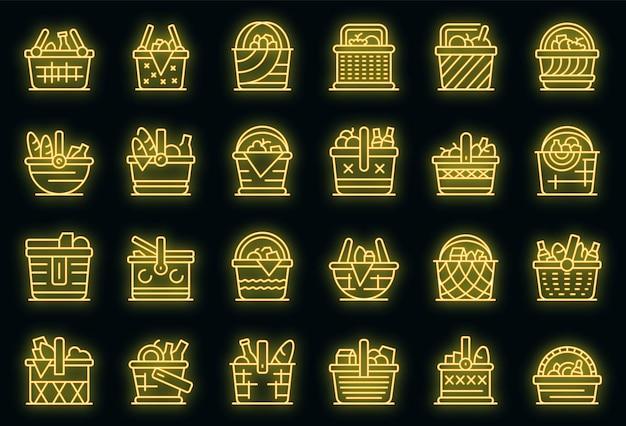 Picknickkorb-icons gesetzt. umrisse von picknickkorb-vektorsymbolen neonfarbe auf schwarz