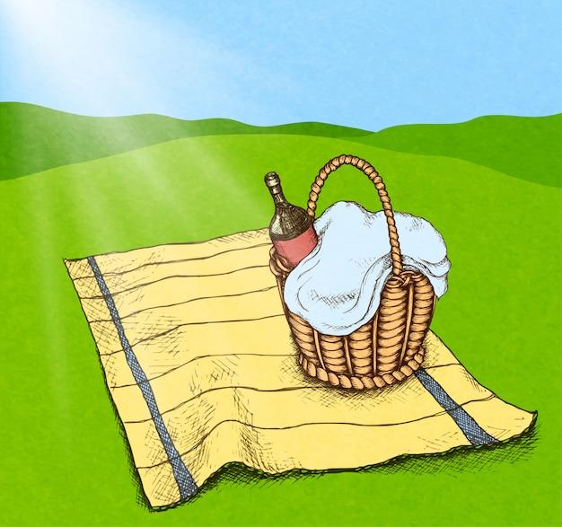 Picknickkorb mit essen und wein