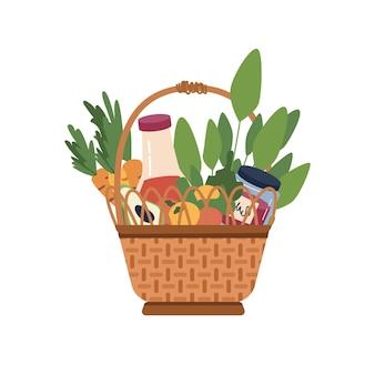 Picknickkorb mit speisen und getränken isolierte cartoon-ikone flacher korbbehälter mit griff Premium Vektoren