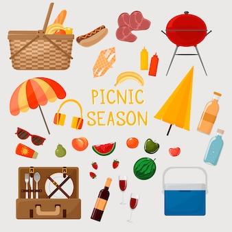 Picknickset grill und picknickschirm