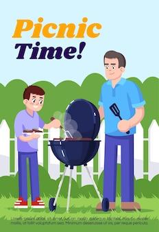 Picknickzeit-poster-vorlage. kommerzielles flyerdesign mit halbflacher illustration. vektor-cartoon-promo-karte. familienausflug, gemeinsames grillen kochen, einladung zur freizeitwerbung im freien