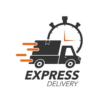 Pickup mit stoppuhr-symbol für service, bestellung, schnellen, kostenlosen und weltweiten versand. modernes design.