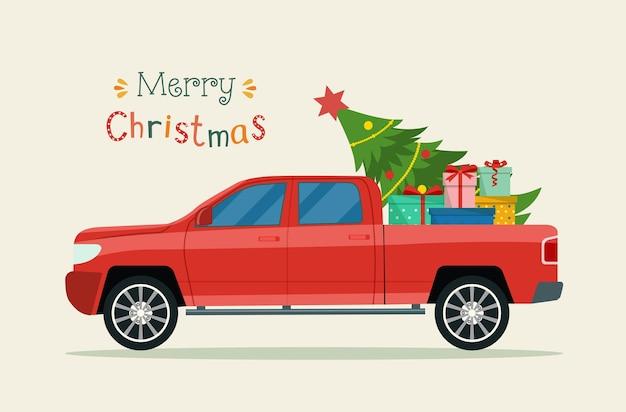 Pickup mit weihnachtsbaum und geschenkboxen. frohe weihnachten stilisierte typografie.