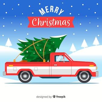 Pickup truck mit weihnachtsbaum