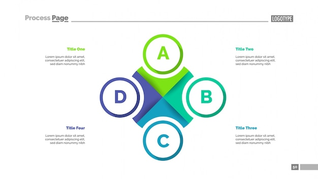 Pie diagramm mit vier elementen vorlage