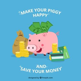 Piggy bank sparschwein hintergrund mit münzen