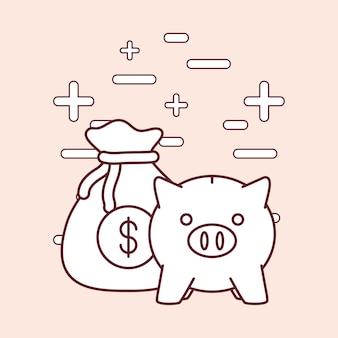 Piggy querneigung und geld bezogene ikonen