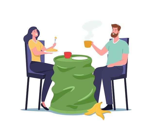 Piggy-wiggy männliche und weibliche charaktere, die auf einem gebrauchten plastikbecher anstelle eines tisches mit müll speisen. naturverschmutzung, leben im müll ökologisches konzept. cartoon-menschen-vektor-illustration