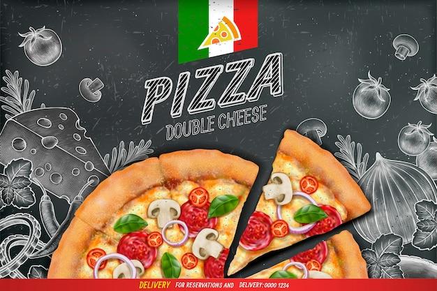 Pikante pizza-anzeigen mit reichhaltigem belagsteig auf kreidekritzelnhintergrund des gravierten stils