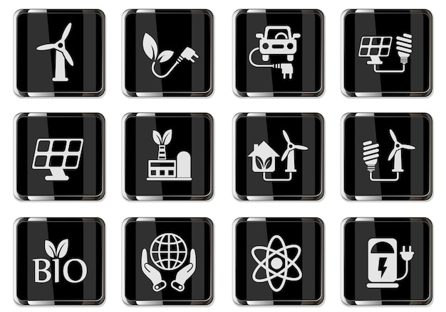 Piktogramme für alternative energien in schwarzen chromknöpfen. symbole für das design der benutzeroberfläche