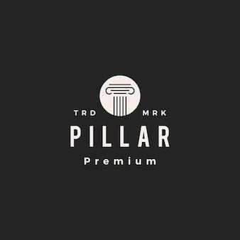 Pillar law hipster vintage logo symbol illustration