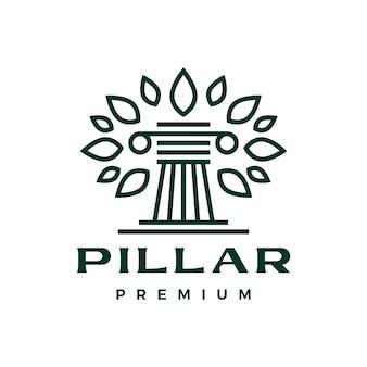 Pillar tree leaf amp column griechisches ionisches logo