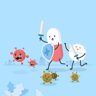Pillen, die schild und schwert halten, töten coronavirus im flachen stil. covid-19-ausbruch und pandemie-angriffskonzept.