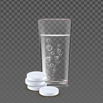 Pillen-haufen und glas mit blasen-wasser-vektor