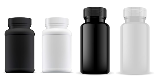 Pillenflasche supplenment glas kunststoff 3d leer, medizin kapselbehälter