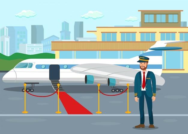 Pilot an der flachen vektor-illustration des flughafenabfertigungsgebäudes