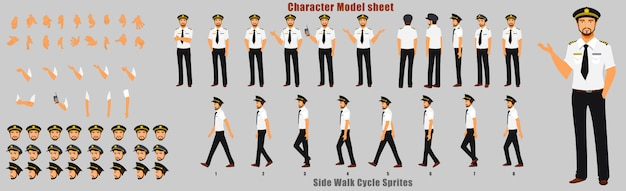 Pilot character model sheet mit animationssequenz für den laufzyklus