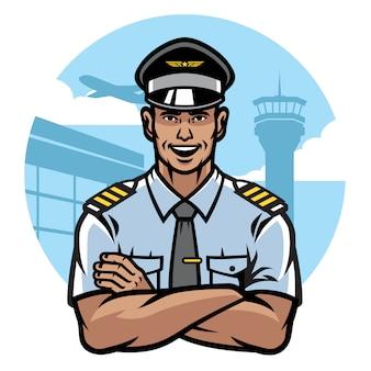 Pilot lächelt und überquert die arme