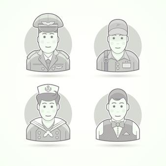 Pilot, lieferbote, shipboy, kellnerikonen. charakter-, avatar- und personenillustrationen. schwarz-weiß umrissener stil.