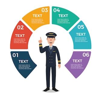 Pilot mit infographic schablone des kreisdiagramms