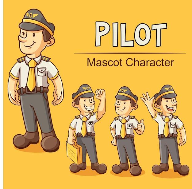 Pilot set bundle maskottchen illustration