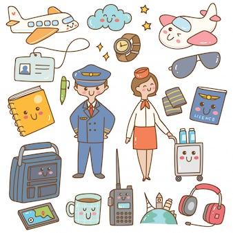 Pilot und stewardess mit ausrüstung kawaii gekritzel