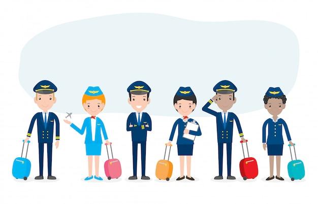 Pilot und stewardess. reihe von offizieren und flugbegleitern stewardessen isoliert auf weiss, pilot und stewardess illustration.