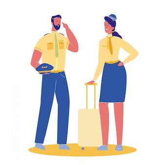Pilot und stewardess vector cartoon illustration