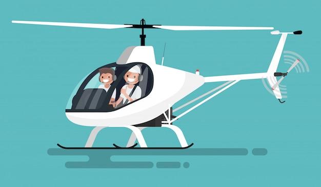 Piloten in der hubschrauberillustration