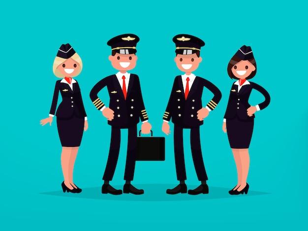 Piloten und flugbegleiter.