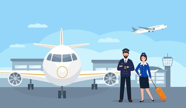 Piloten und stewardess am flughafen in der nähe von flugzeug oder flugzeugpersonal oder besatzung in uniform