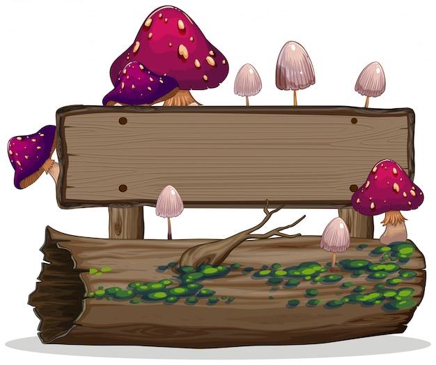Pilz auf hölzerner fahne