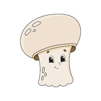 Pilz champignon. netter charakter. cartoon-stil. auf weißem hintergrund isoliert.