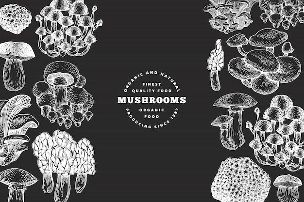 Pilz-entwurfsvorlage. gezeichnete illustrationen des vektors hand auf kreidebrett. pilz im retro-stil. herbst essen.