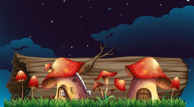 Pilz häuser im garten in der nacht