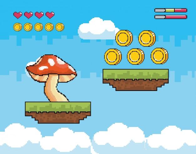 Pilz mit münzen und herzlebenstangen