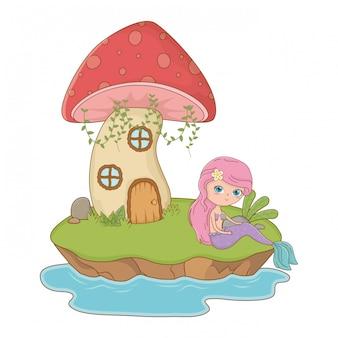 Pilz und charakter von märchen entwerfen vektorillustration