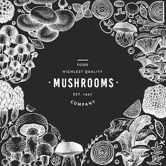 Pilz-vorlage. hand gezeichnete lebensmittelillustration auf kreidebrett.