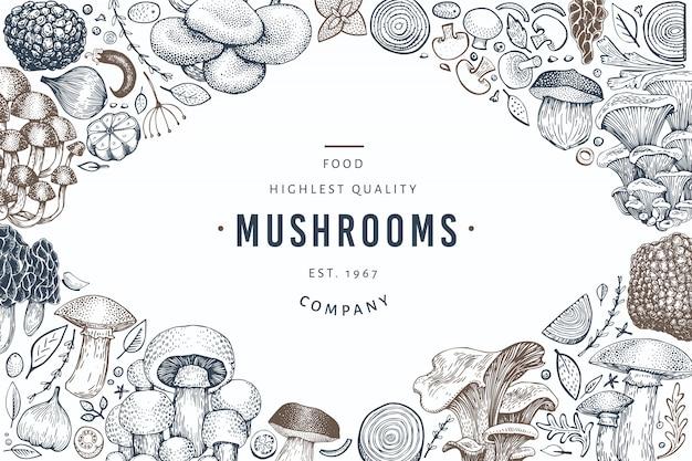 Pilz-vorlage. hand gezeichnete nahrungsmittelabbildung.